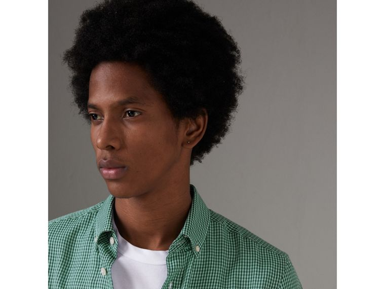 Button-down Collar Gingham Cotton Shirt in Aqua Green - Men | Burberry - cell image 1