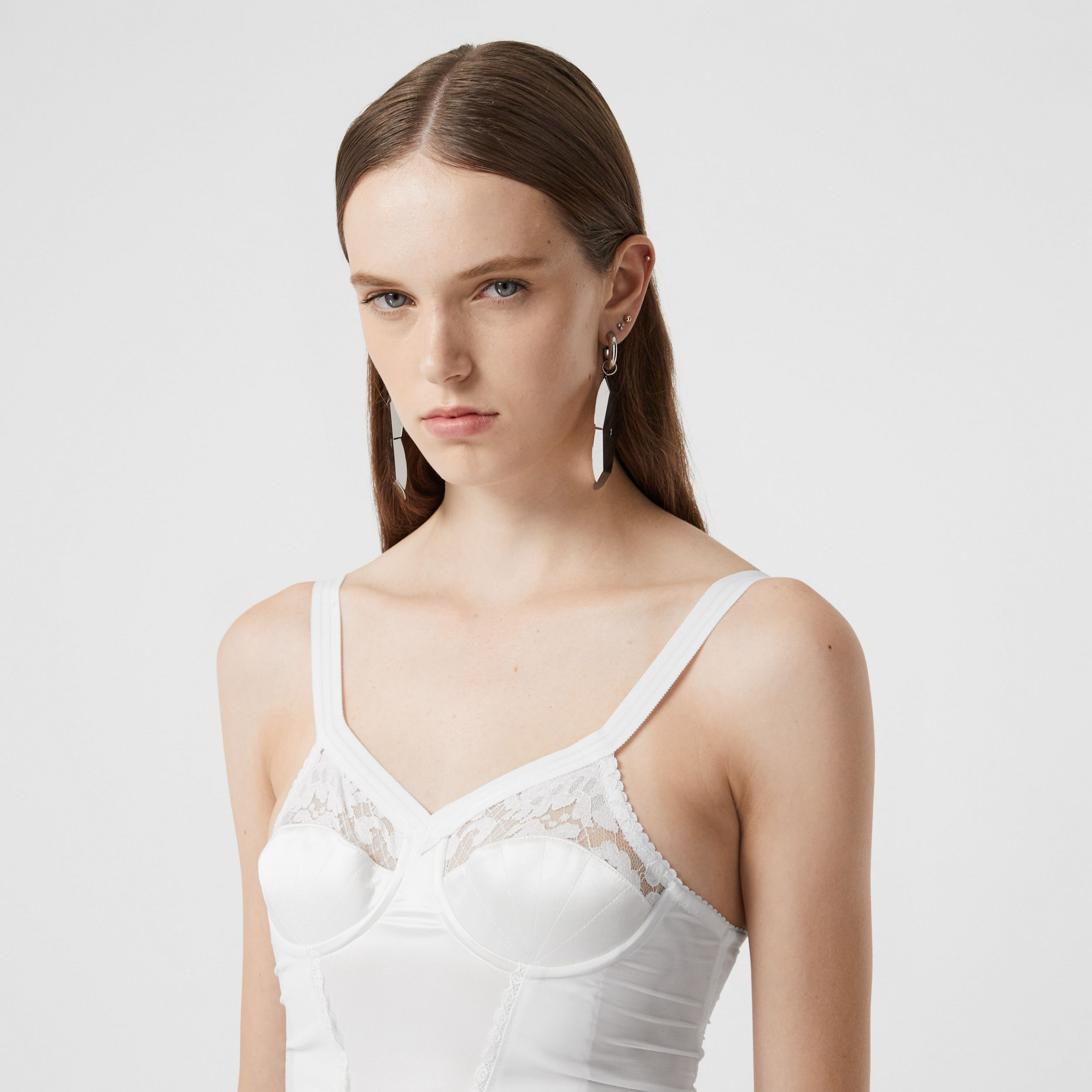 Lace Detail Silk Satin and Mesh Corset Dress in Optic White - Women | Burberry - 1