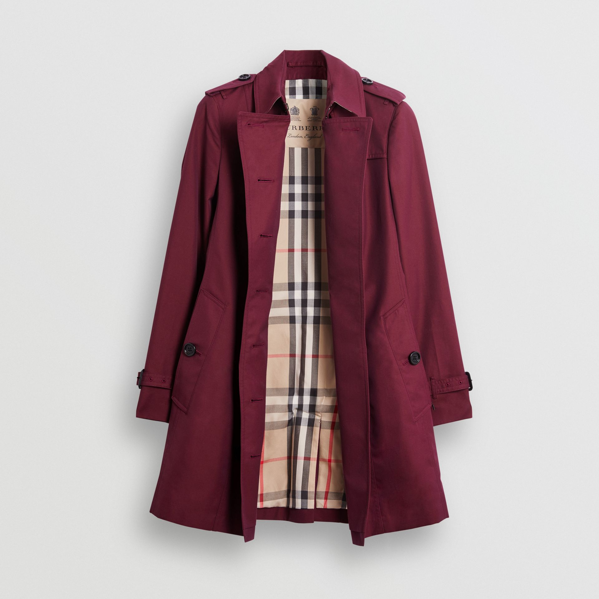 Sandringham Fit Cotton Gabardine Trench Coat in Crimson - Women | Burberry - gallery image 7