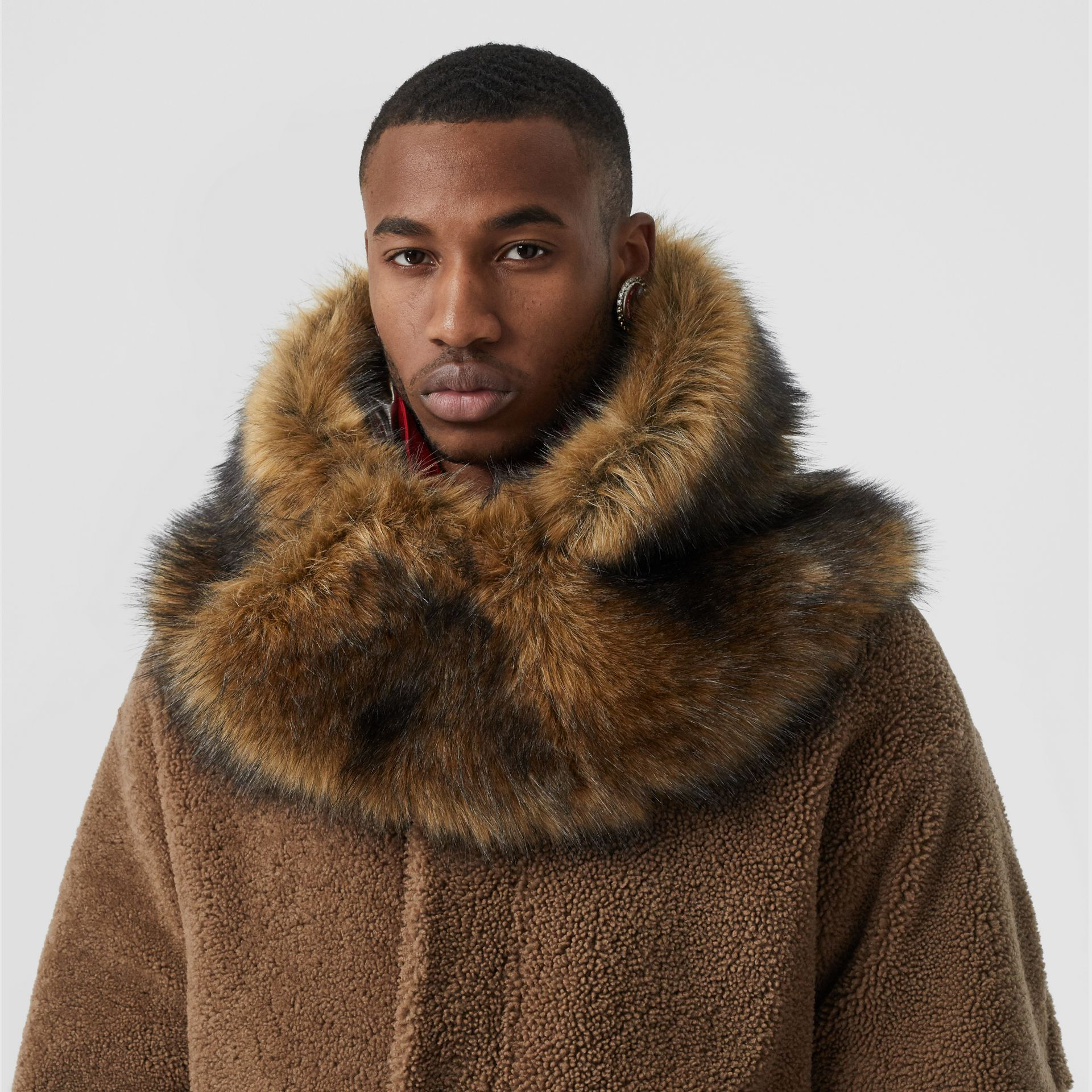 Shearling Parka with Detachable Hood and Jacket in Pale Coffee - Men | Burberry - gallery image 7