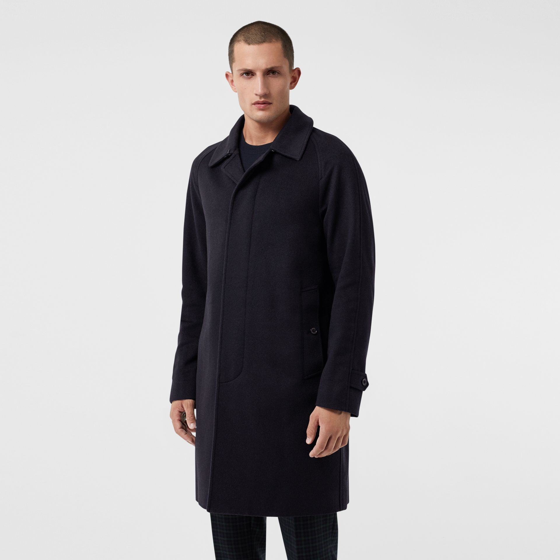 Cashmere Car Coat in Navy - Men | Burberry Australia - gallery image 6