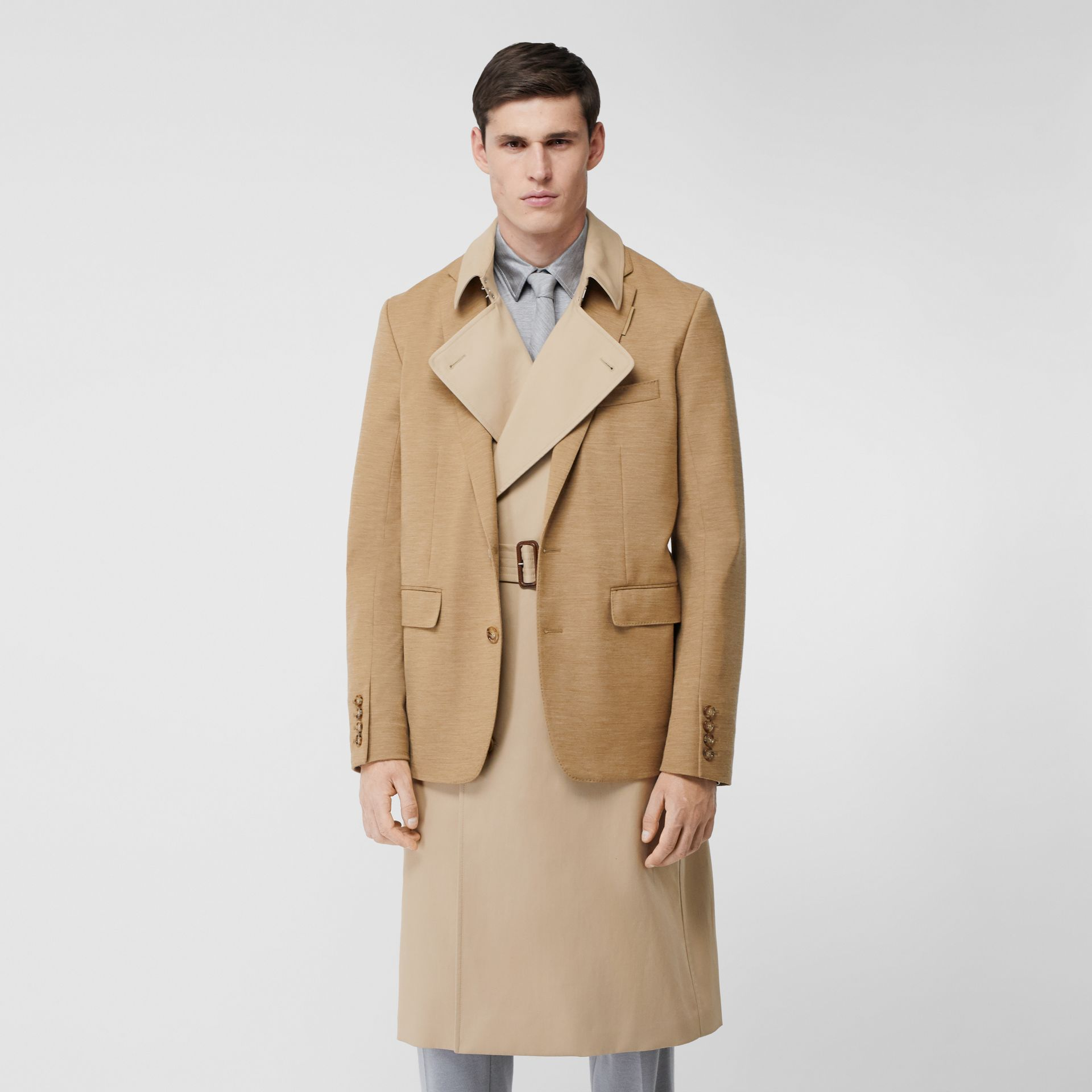 Blazer Detail Cotton Twill Reconstructed Trench Coat in Soft Fawn - Men | Burberry - gallery image 6