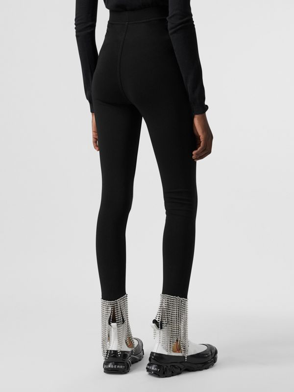 Crystal Fringe Detail Stretch Jersey Leggings in Black - Women | Burberry - cell image 2