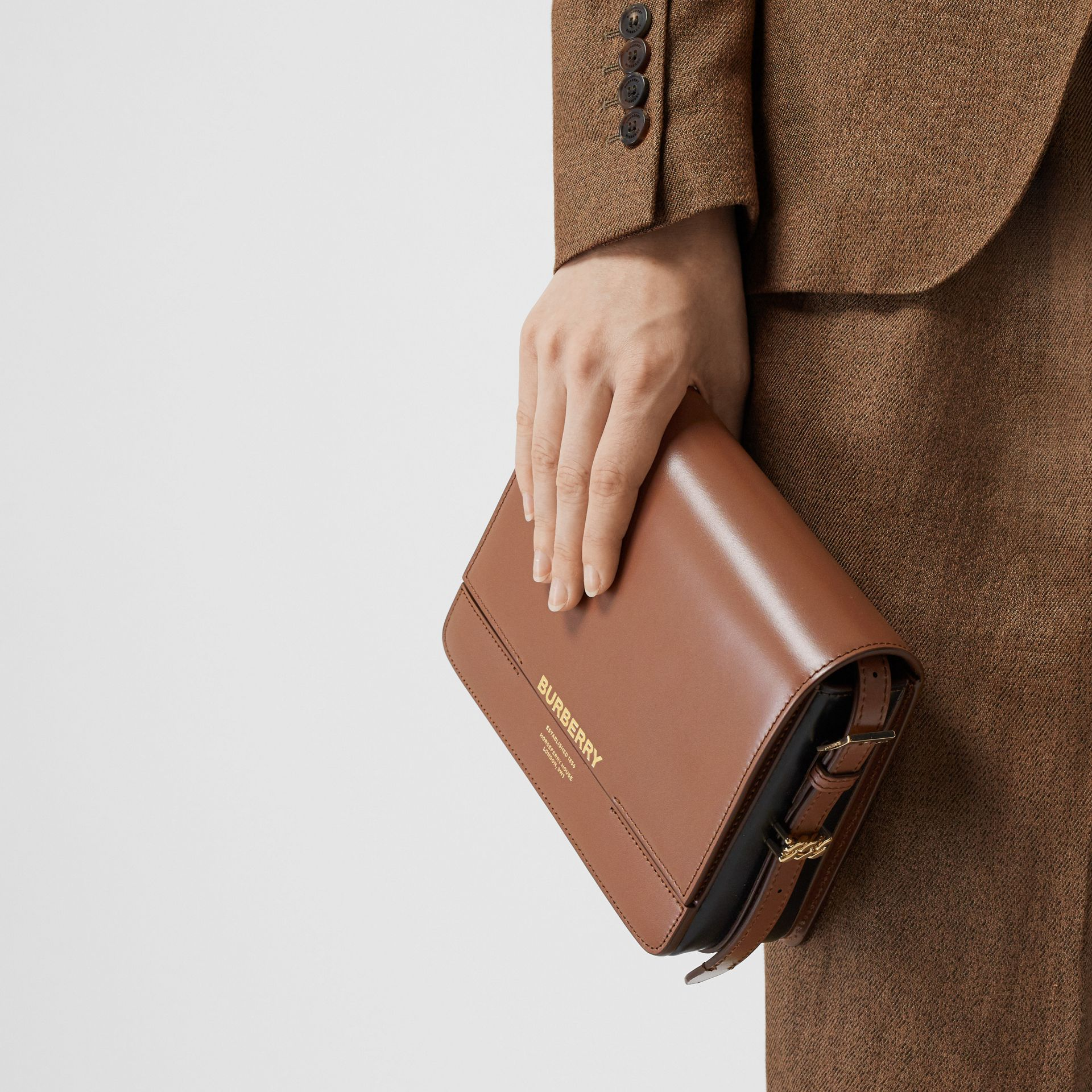 Small Two-tone Leather Grace Bag in Malt Brown/black - Women | Burberry - gallery image 2