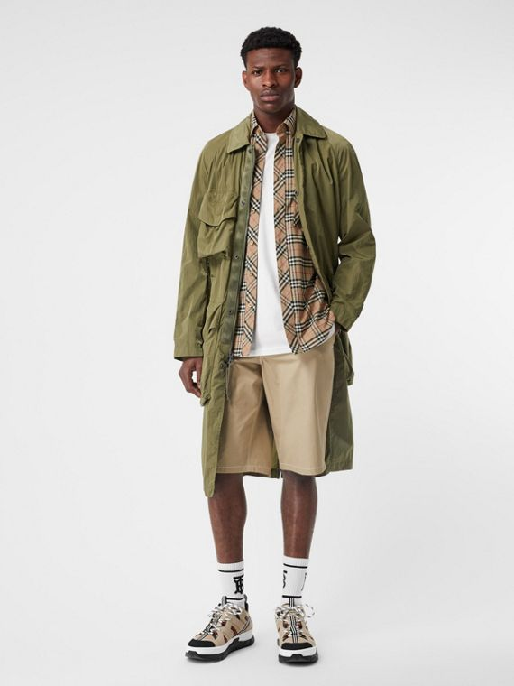 Short-sleeve Small Scale Check Stretch Cotton Shirt in Archive Beige
