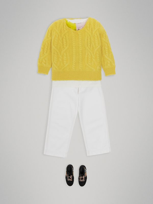 Cable Knit Mohair Wool Sweater in Bright Yellow | Burberry - cell image 2