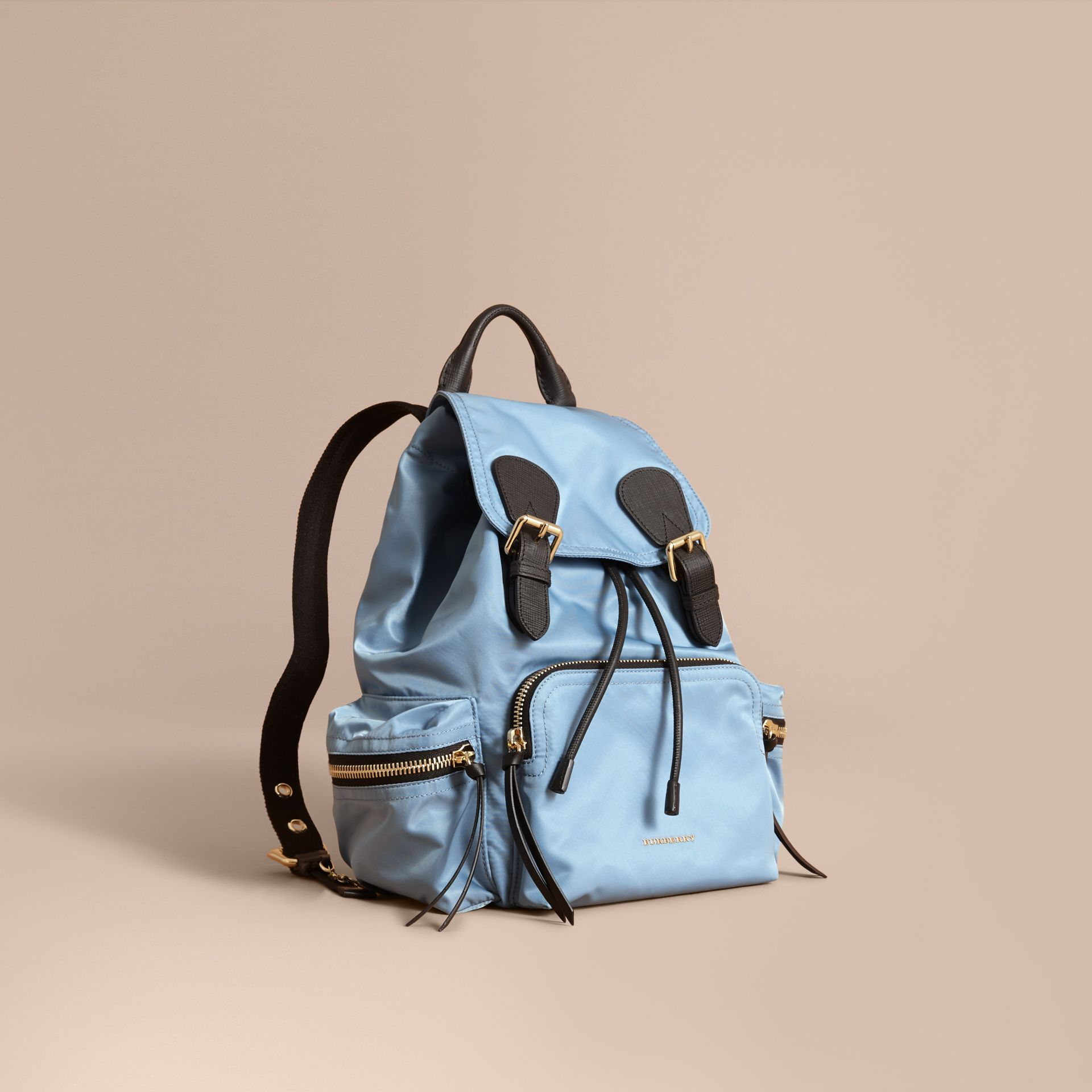 The Medium Rucksack in Technical Nylon and Leather in Pale Bluebell - Women | Burberry - gallery image 1