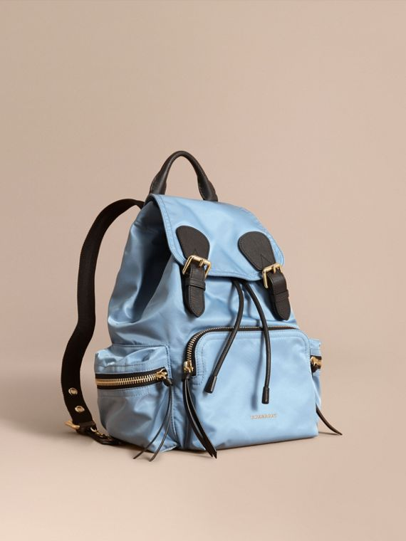 The Medium Rucksack in Technical Nylon and Leather Pale Bluebell