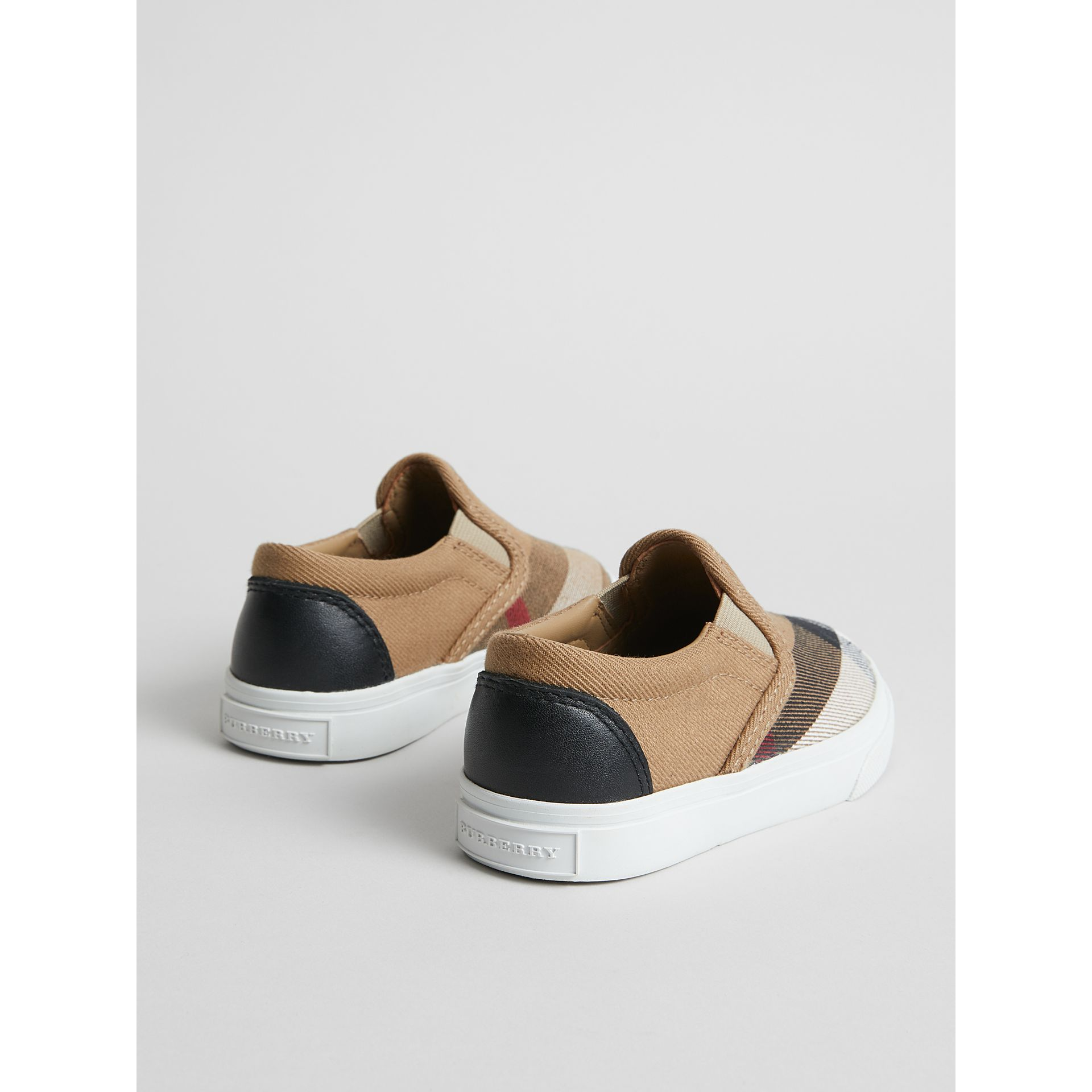 House Check and Leather Slip-on Sneakers in Classic/optic White | Burberry United States - gallery image 2