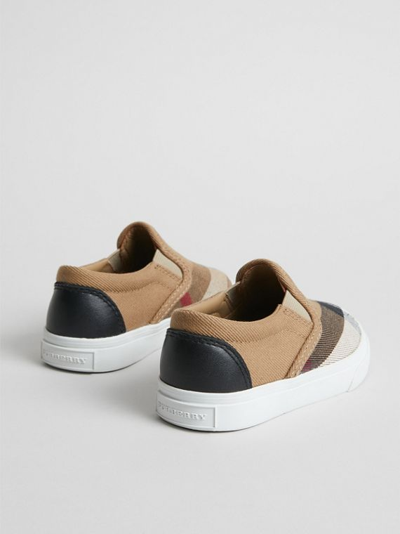 House Check and Leather Slip-on Sneakers in Classic/optic White | Burberry United States - cell image 2