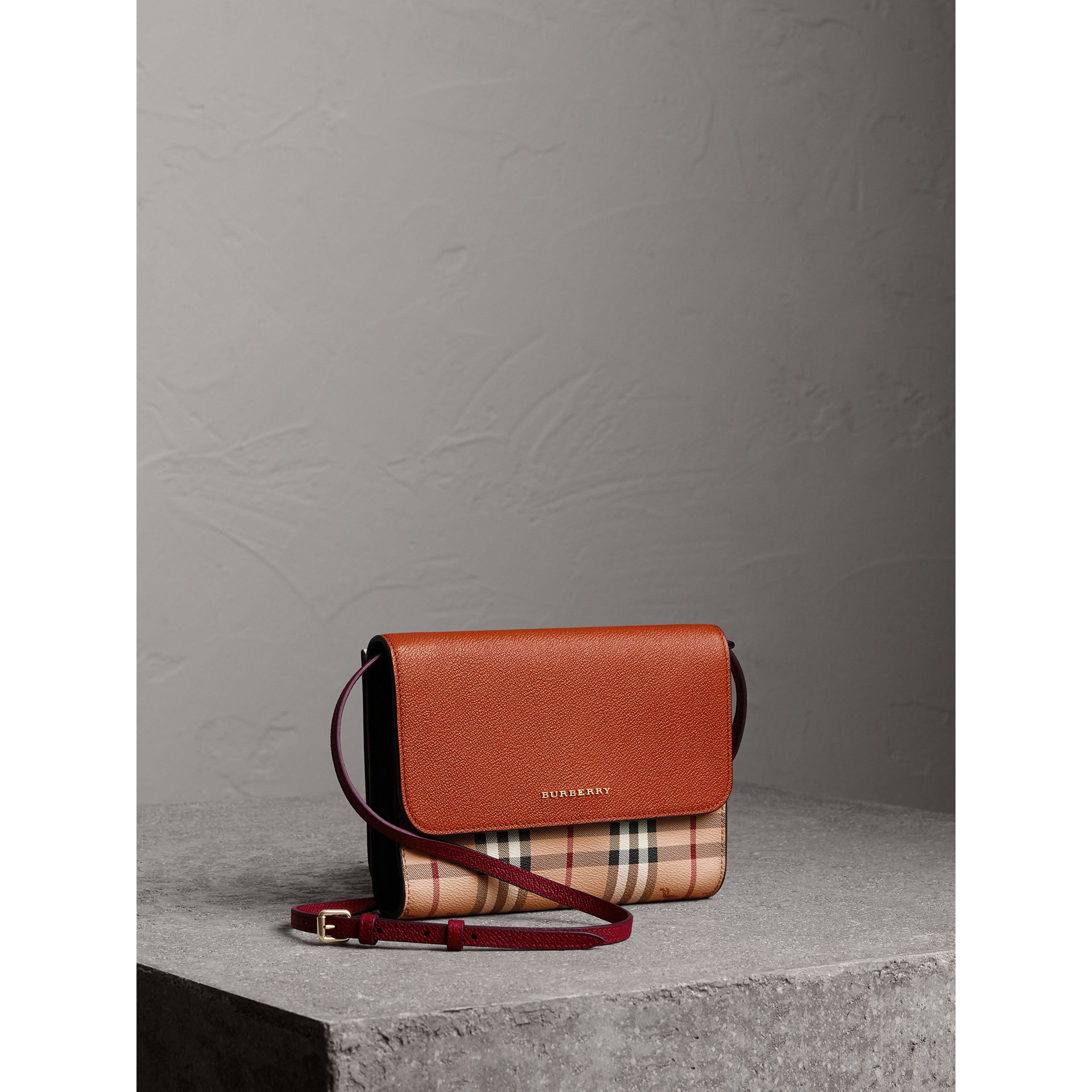 Haymarket Check and Leather Crossbody Bag in Bright Toffee/multi - Women | Burberry Hong Kong - gallery image 1