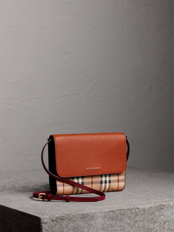 Haymarket Check and Leather Crossbody Bag in Bright Toffee/multi
