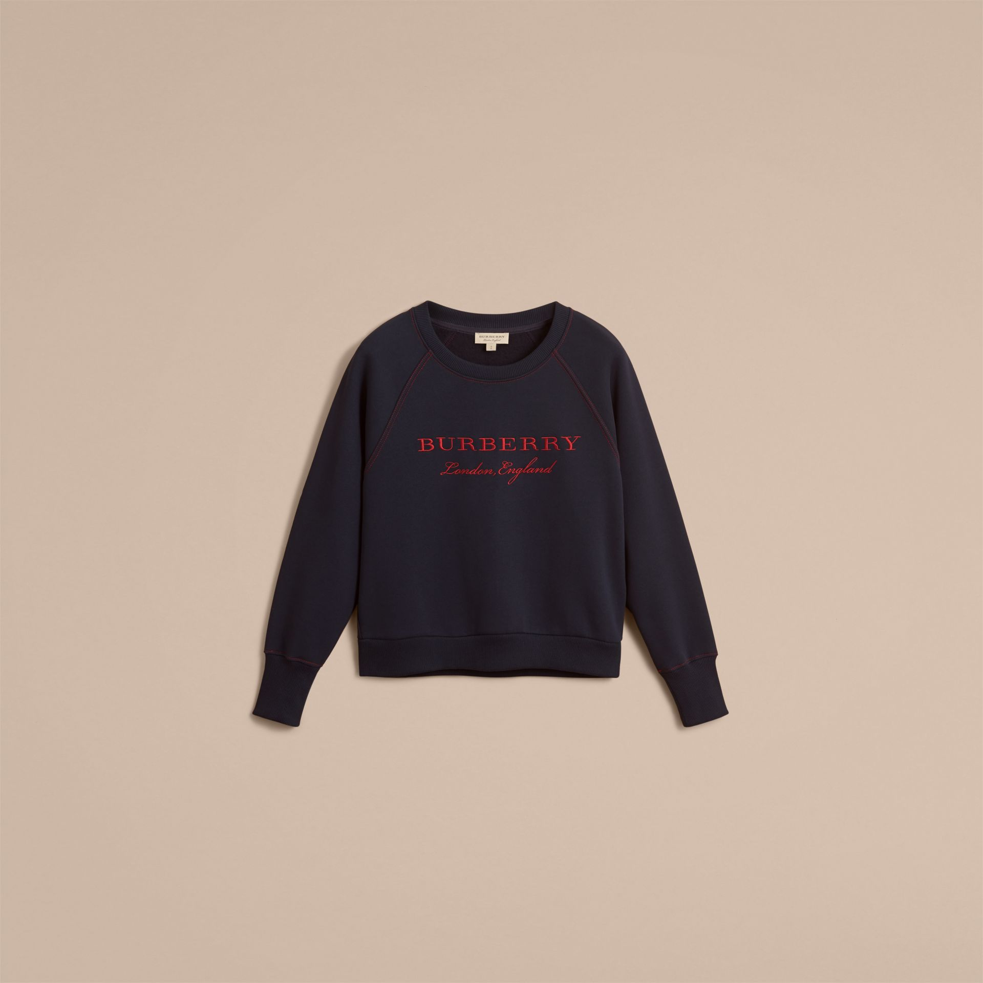 Embroidered Cotton Blend Jersey Sweatshirt in Navy - Women | Burberry Australia - gallery image 3