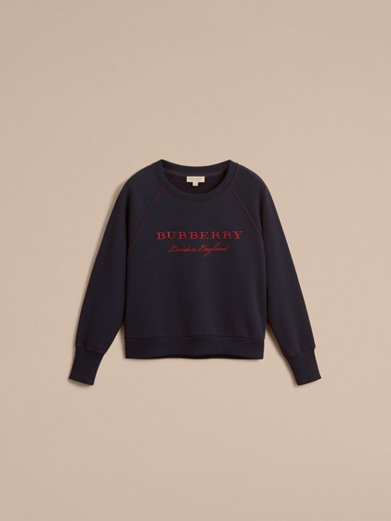 Embroidered Cotton Blend Jersey Sweatshirt in Navy - Women | Burberry Singapore - cell image 3