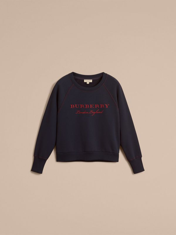 Embroidered Cotton Blend Jersey Sweatshirt in Navy - Women | Burberry - cell image 3