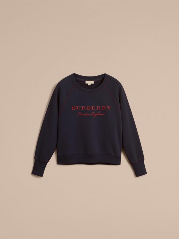Sudadera en tejido jersey de mezcla de algodón con logotipo bordado (Azul Marino) - Mujer | Burberry - cell image 3