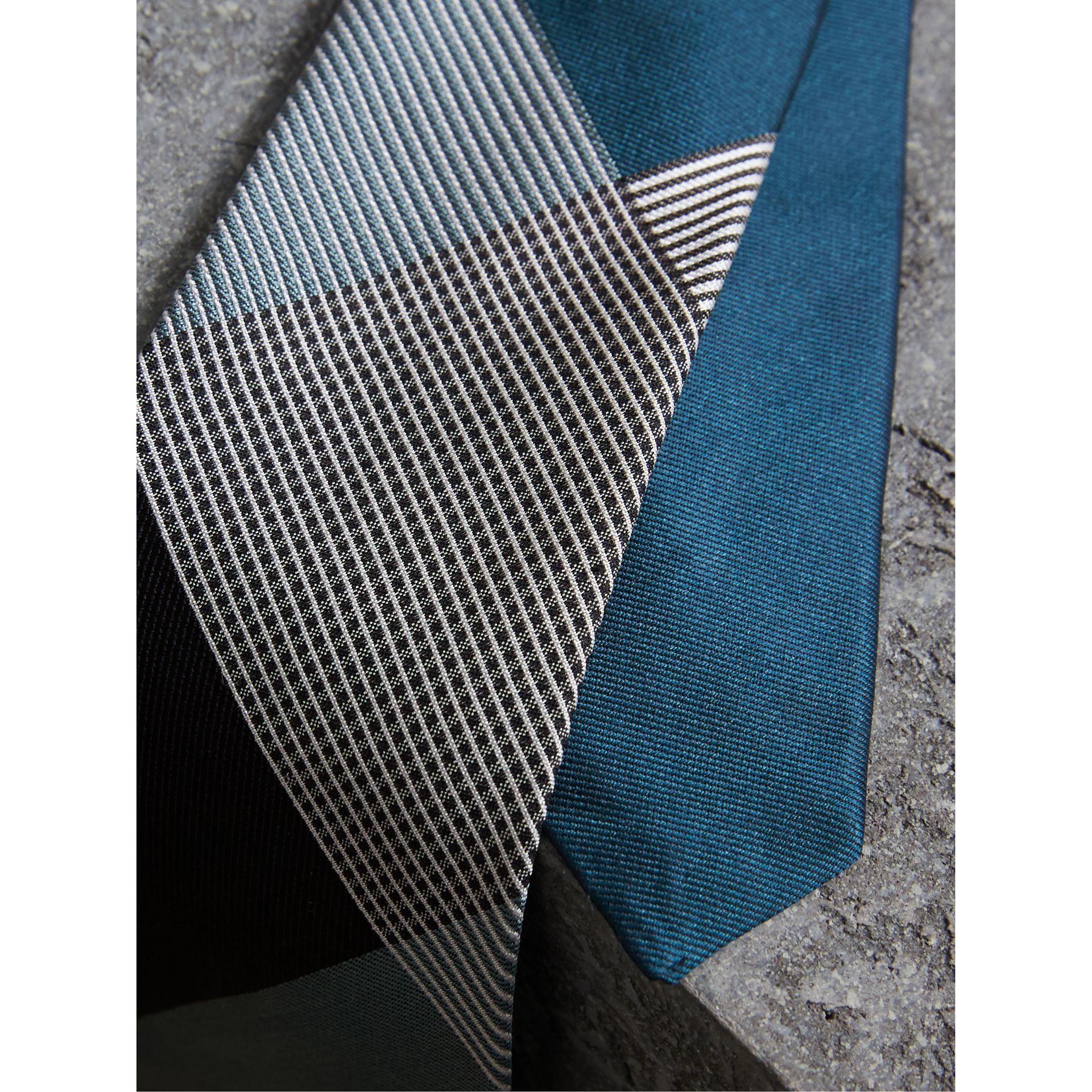 Modern Cut Check Silk Twill Jacquard Tie in Mineral Blue - Men | Burberry - gallery image 2