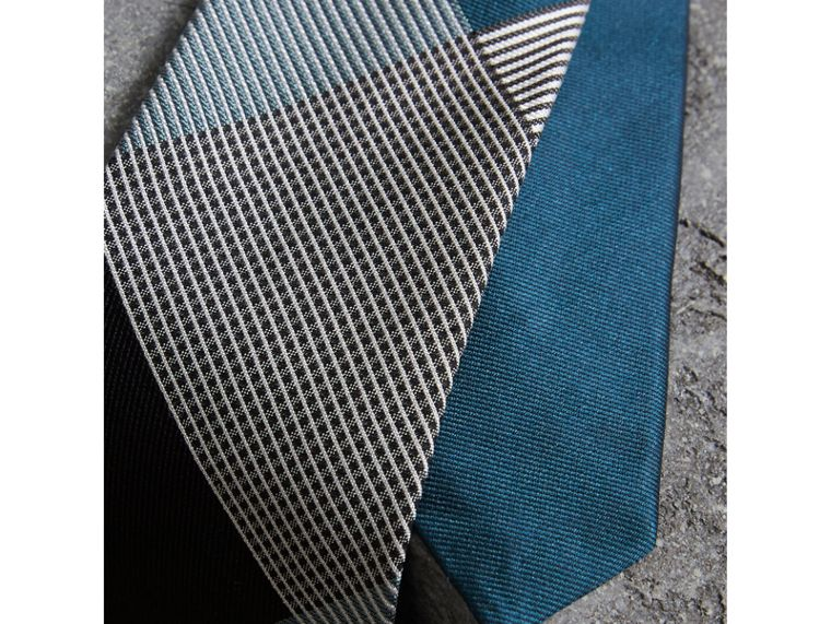 Modern Cut Check Silk Twill Jacquard Tie in Mineral Blue - Men | Burberry - cell image 1
