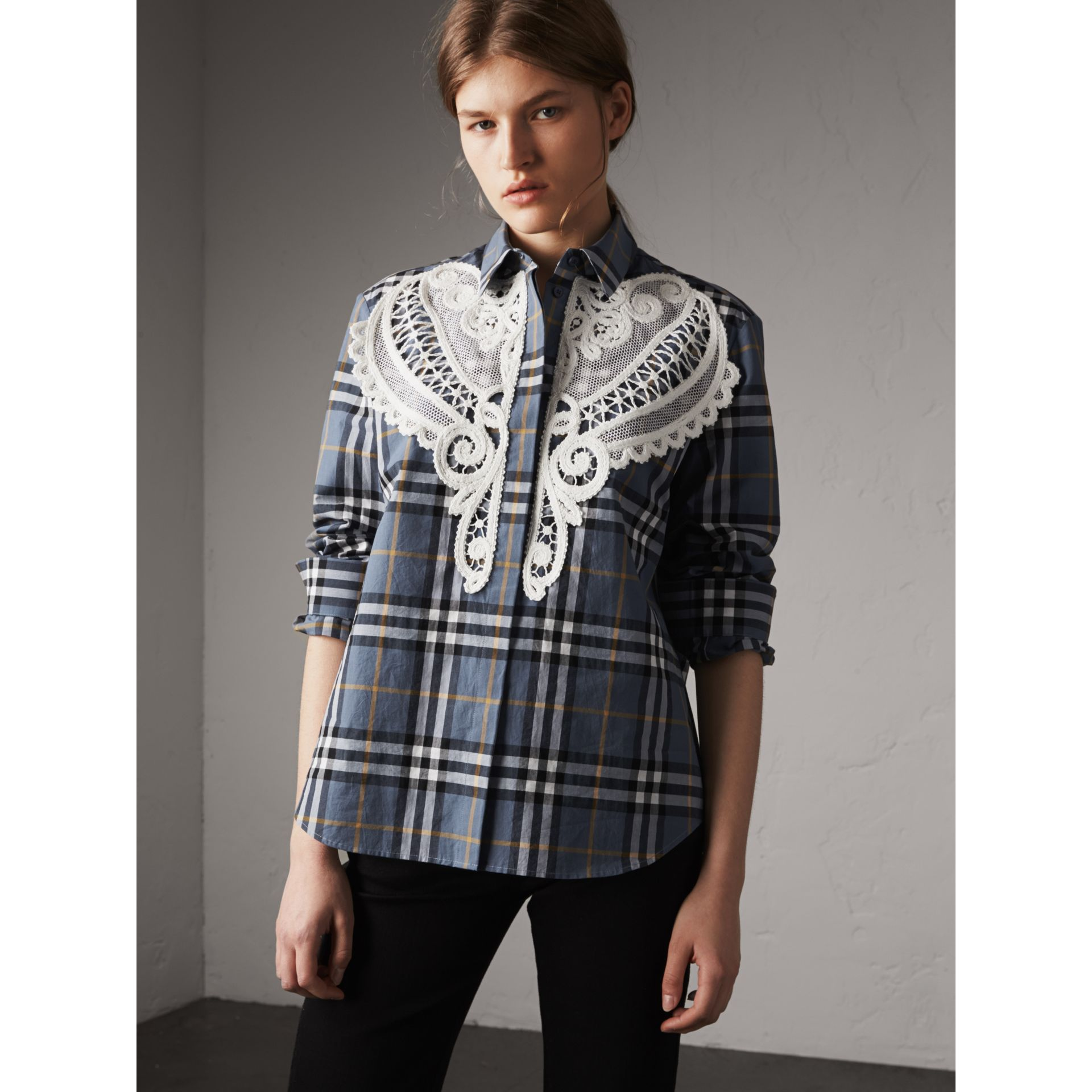 Lace Appliqué Check Cotton Shirt - Women | Burberry - gallery image 7
