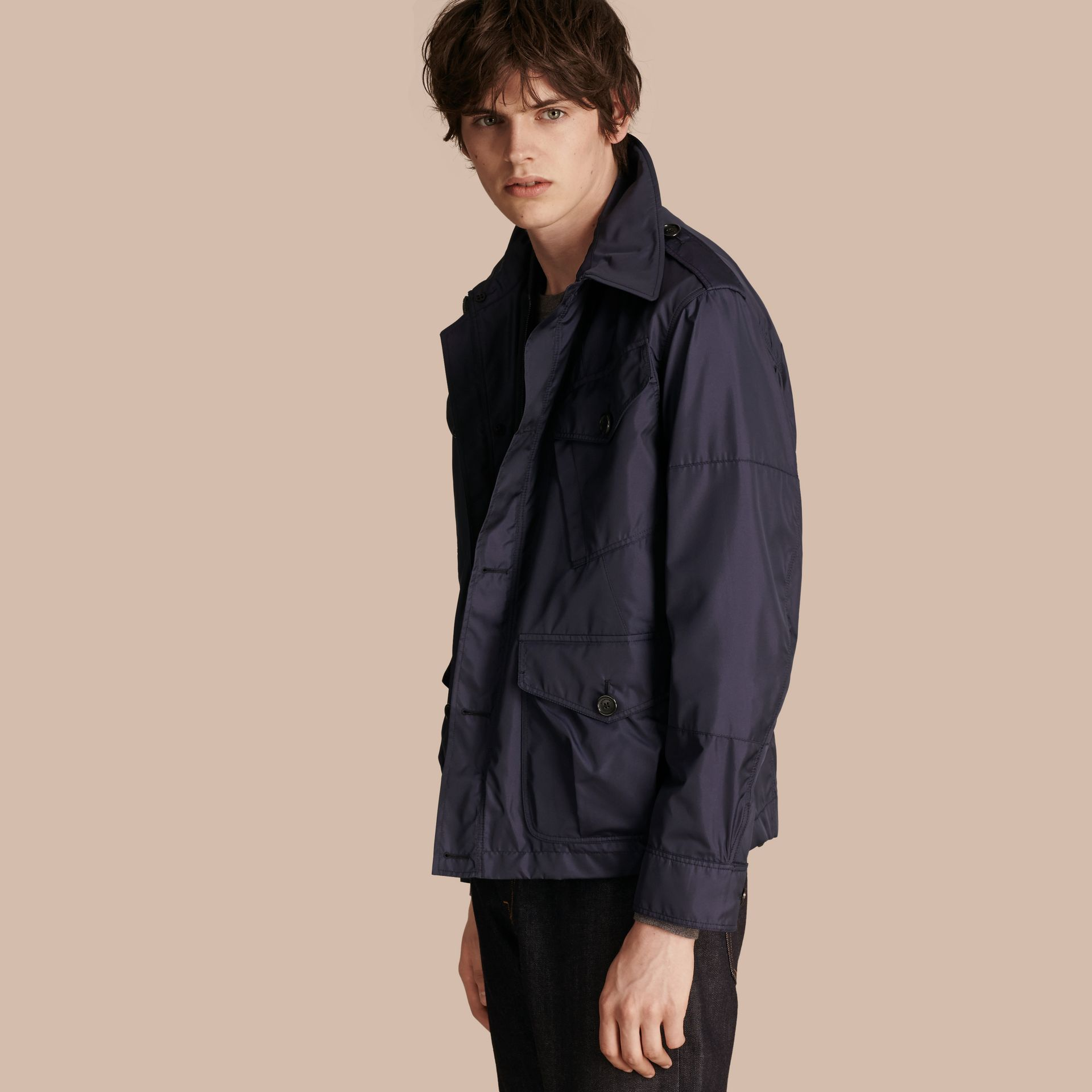 Ultramarine Silk Blend Field Jacket with Detachable Warmer - gallery image 1