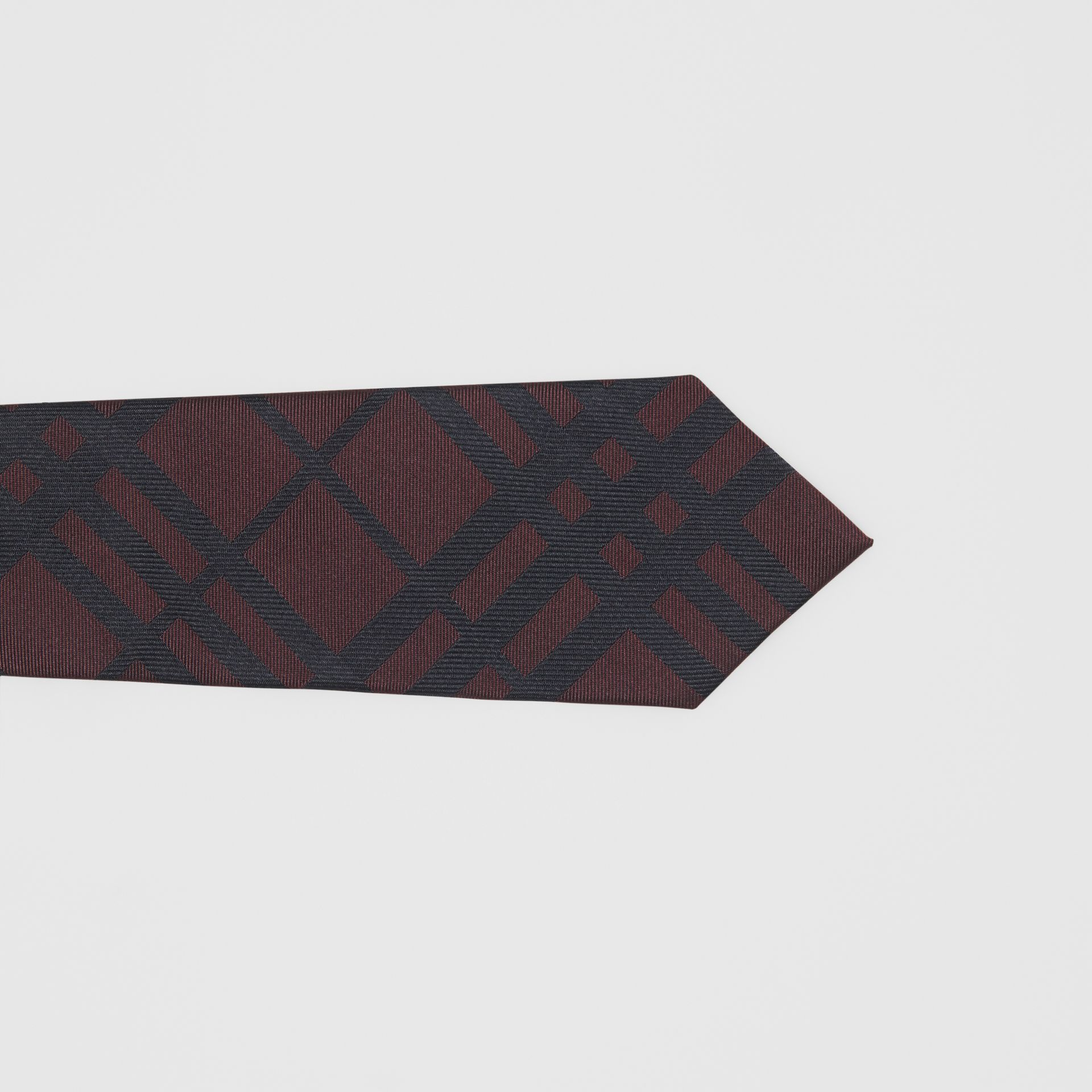 Classic Cut Check Silk Jacquard Tie in Oxblood - Men | Burberry - gallery image 1