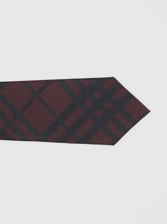 Classic Cut Check Silk Jacquard Tie in Oxblood - Men | Burberry - cell image 1