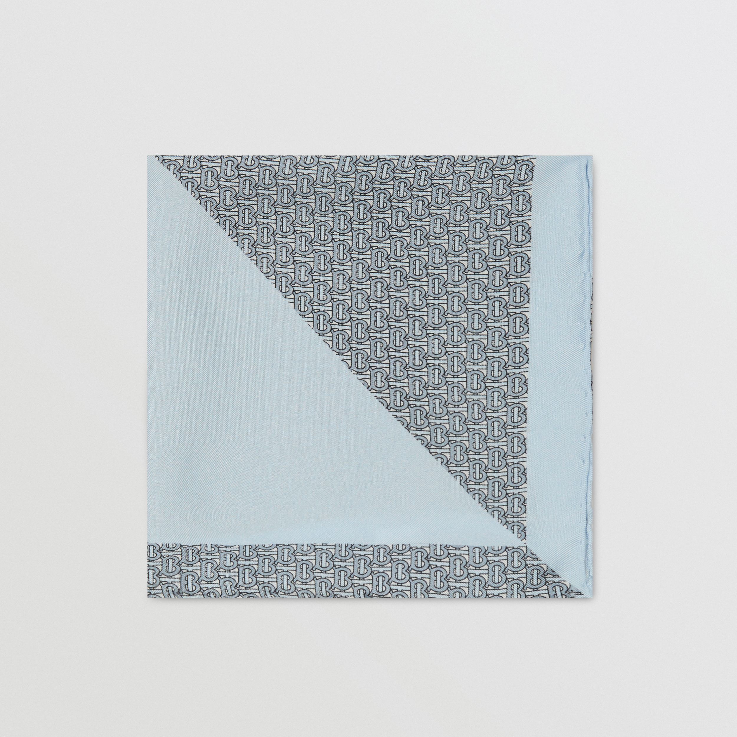 Monogram Panel Silk Pocket Square in Pale Blue - Men | Burberry - 4