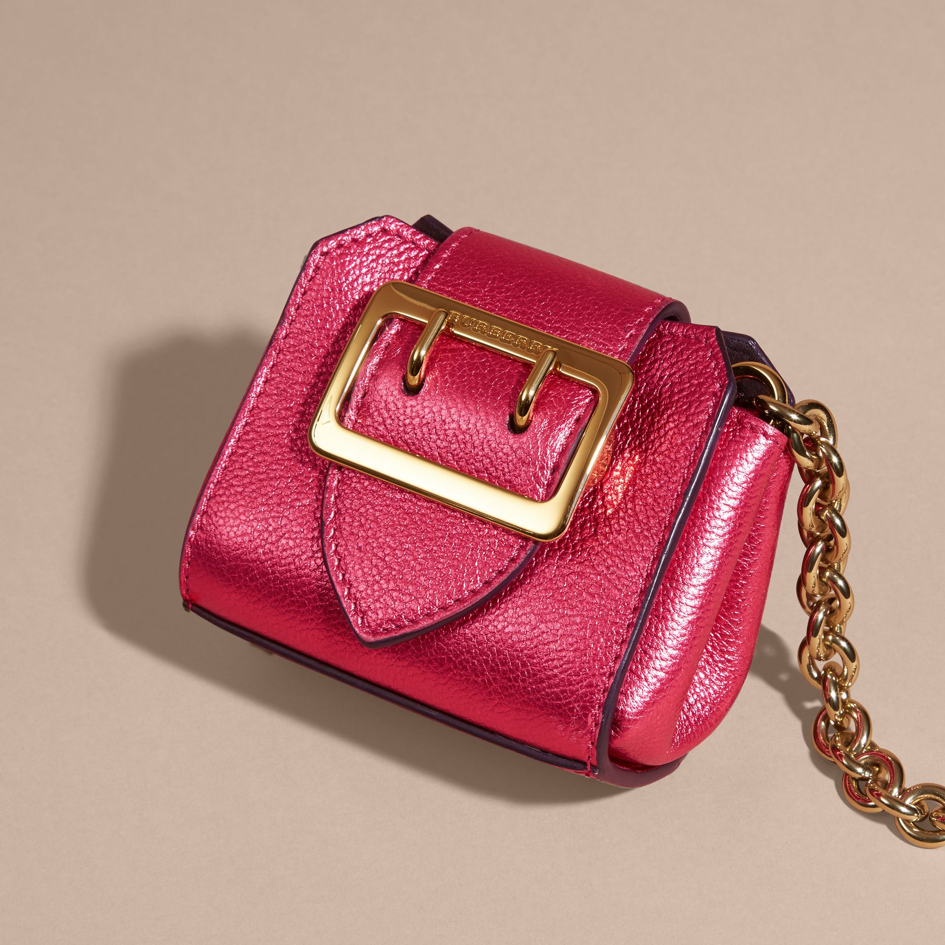 Bright pink The Mini Buckle Tote Charm in Metallic Leather Bright Pink - gallery image 3