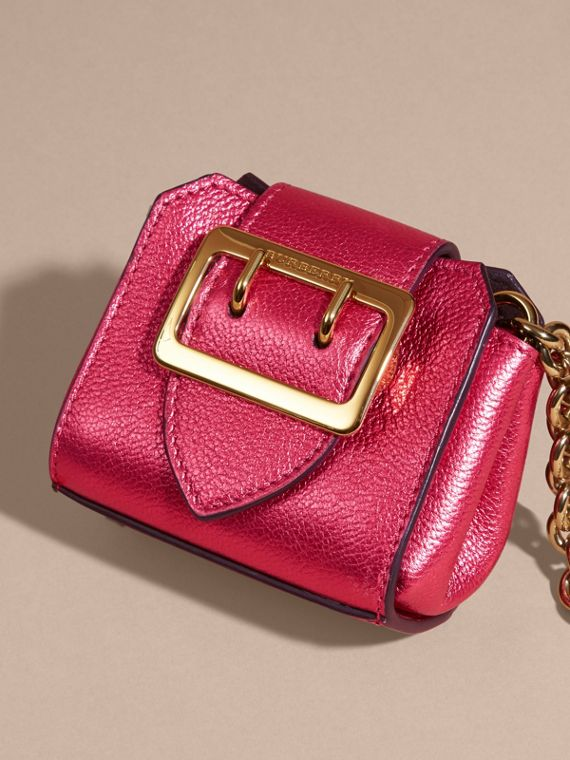 Bright pink The Mini Buckle Tote Charm in Metallic Leather Bright Pink - cell image 2
