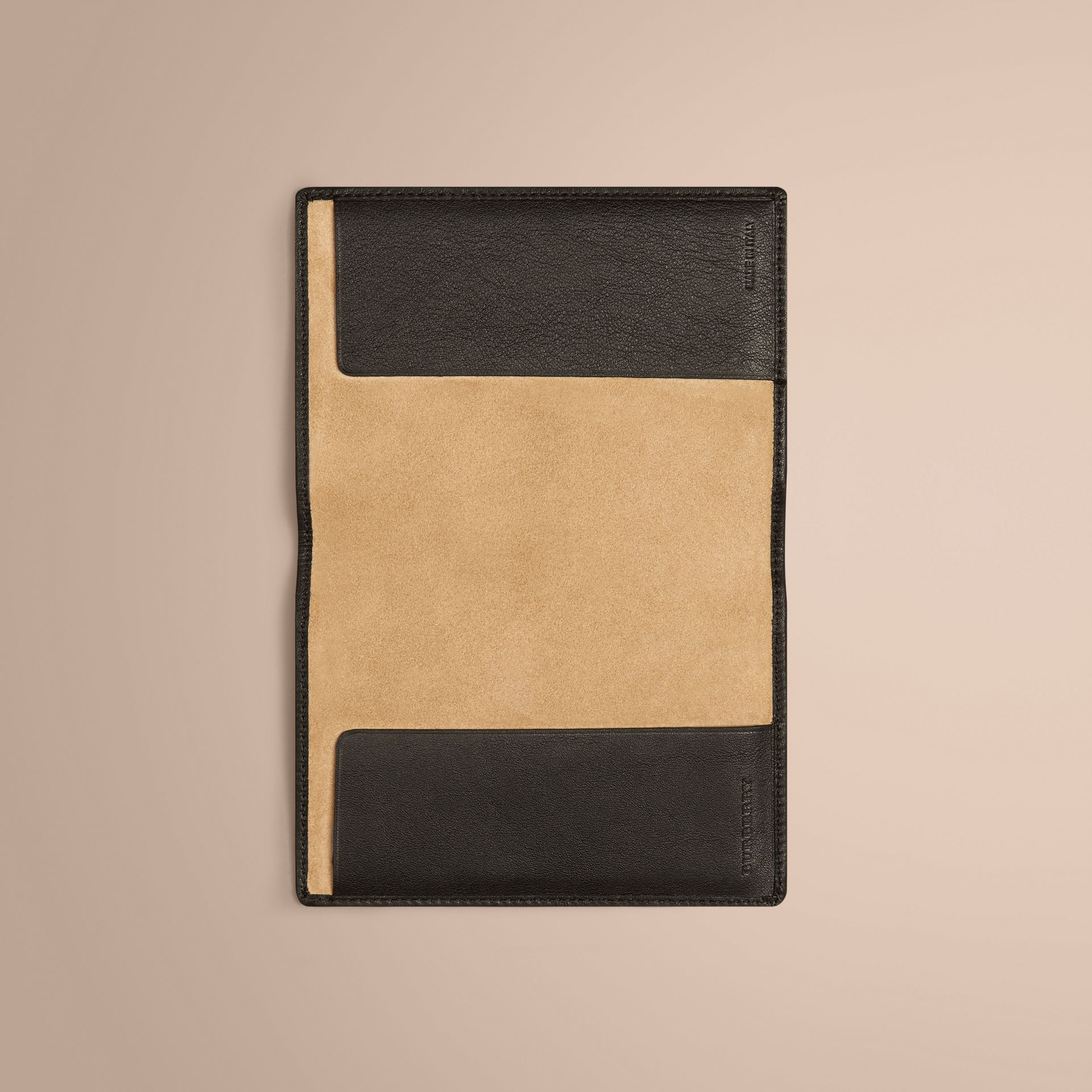 Black Check Detail Leather Passport Cover Black - gallery image 4