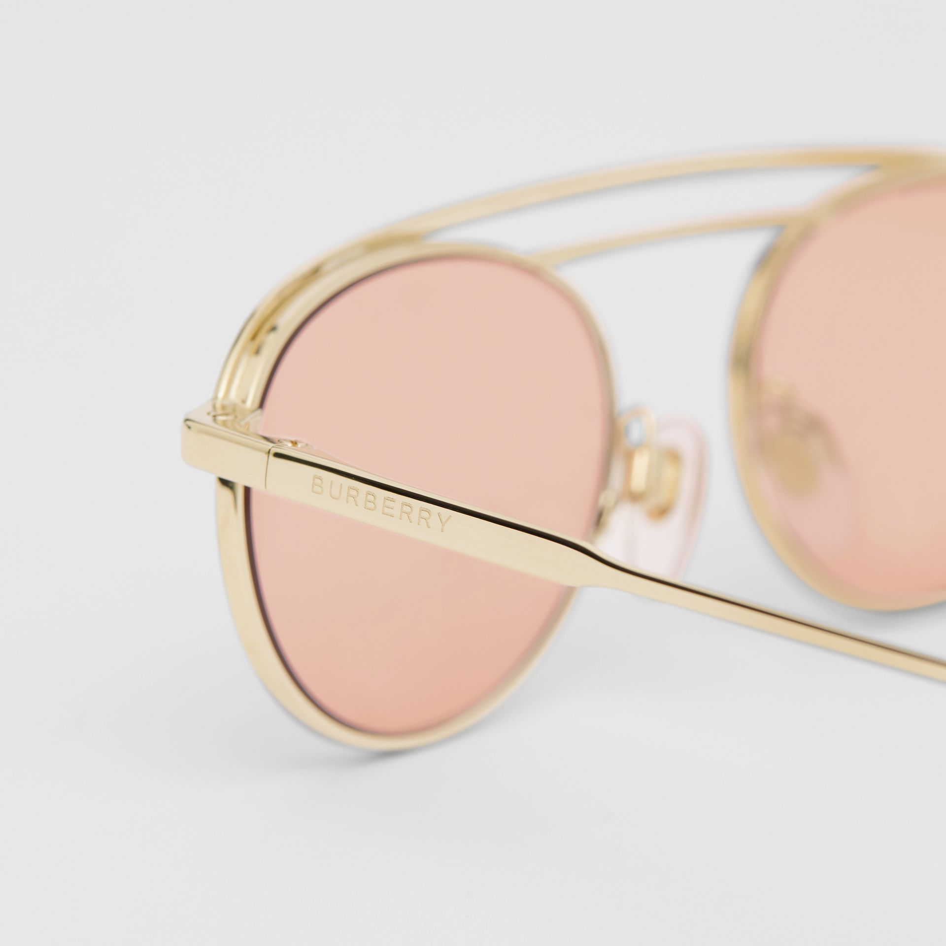 Oval Frame Sunglasses in Light Pink - Women | Burberry - gallery image 1