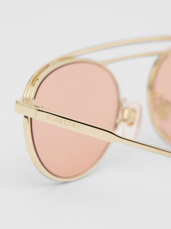 Oval Frame Sunglasses in Light Pink - Women | Burberry - cell image 1