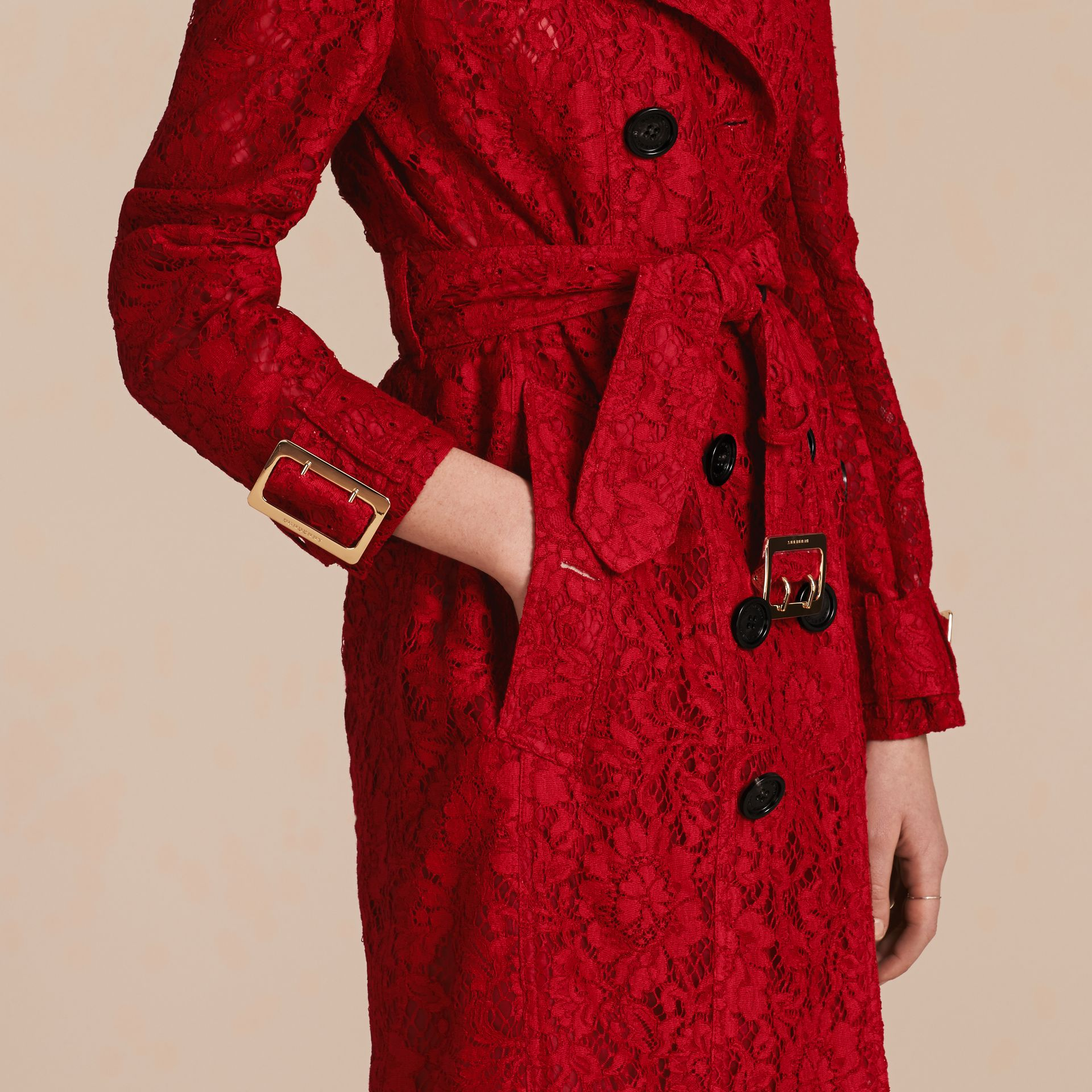 Parade red Lace Trench Coat - gallery image 6