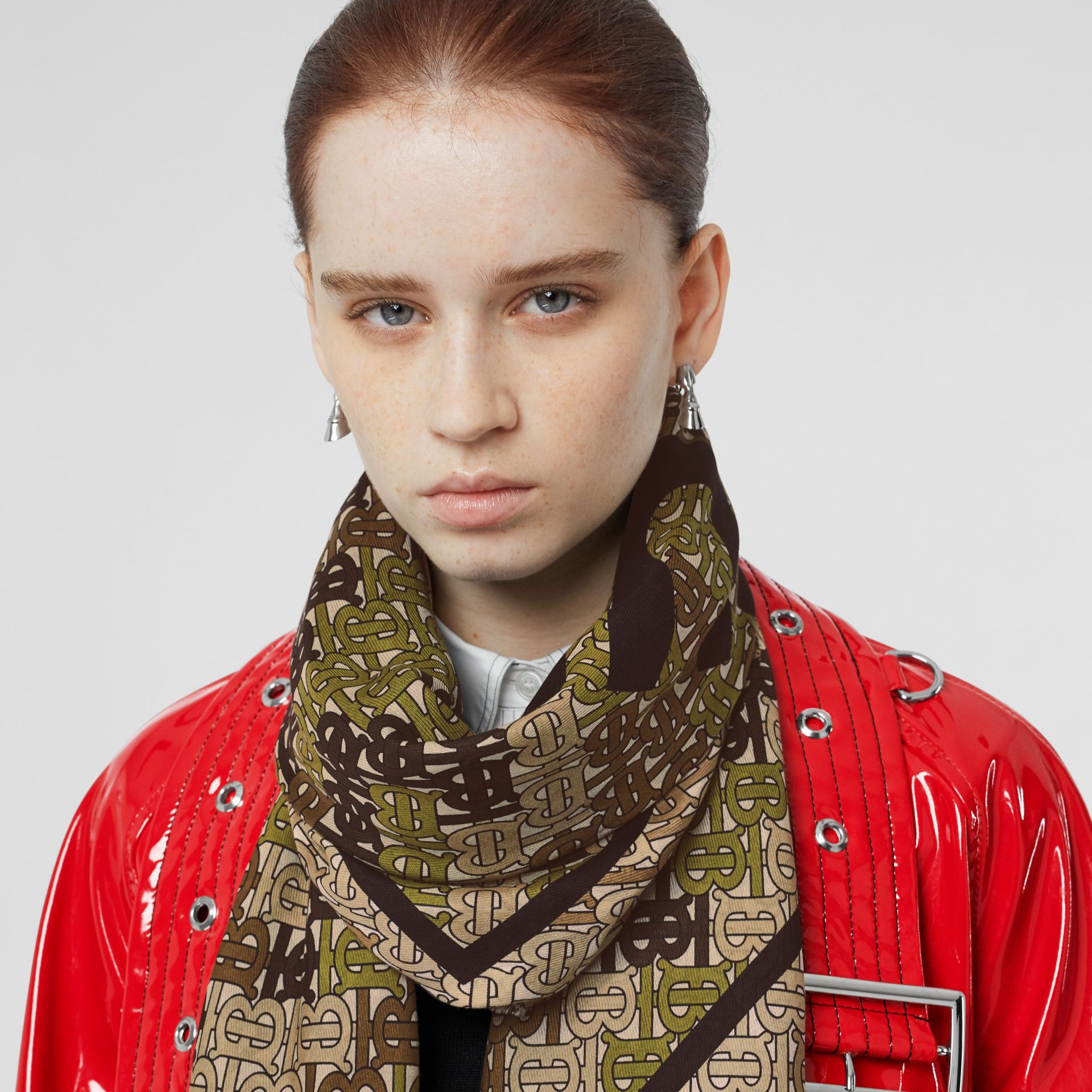 Horseferry Print Cotton Silk Large Square Scarf in Khaki Green | Burberry - gallery image 2
