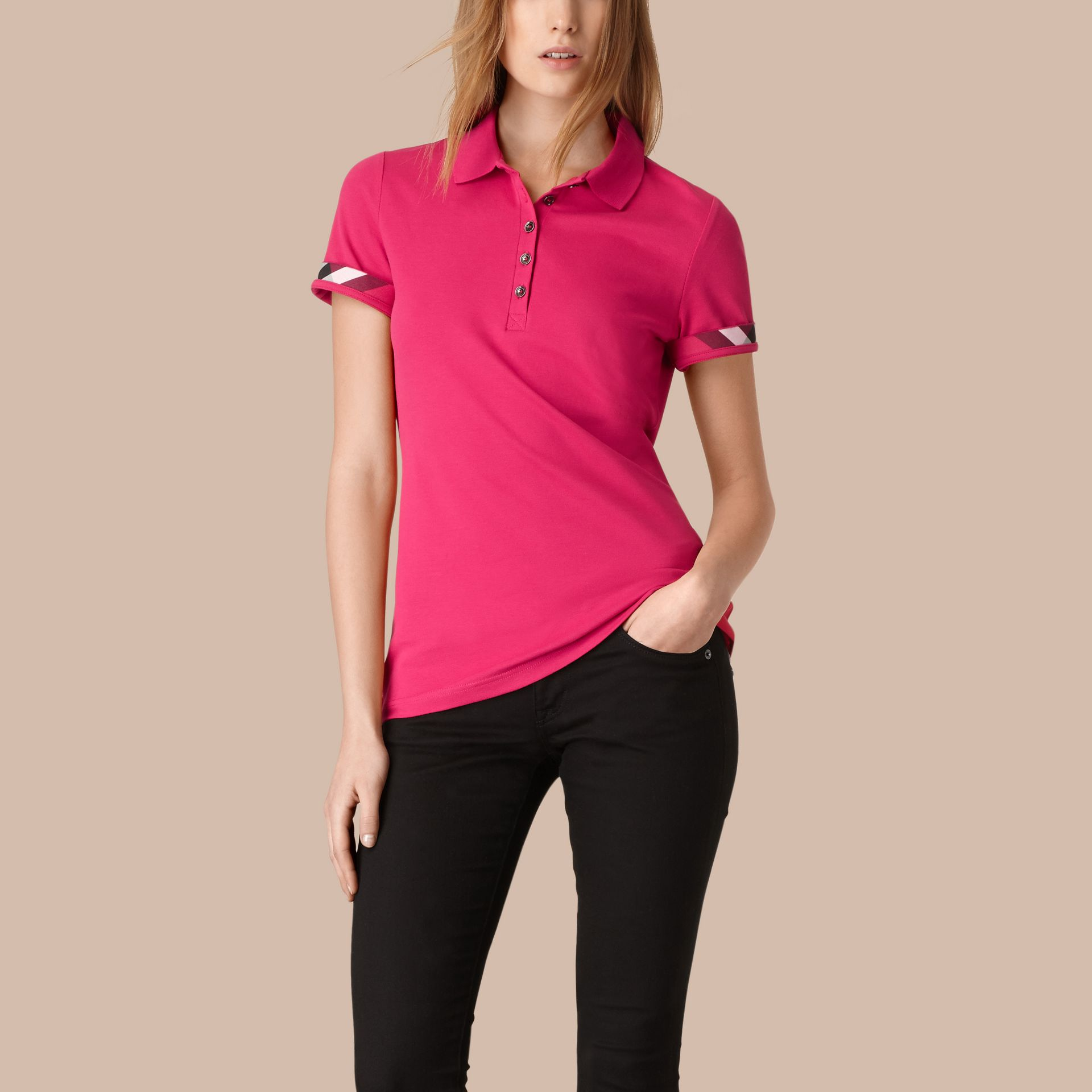 Check Trim Stretch Cotton Piqué Polo Shirt Bright Hibiscus - gallery image 2