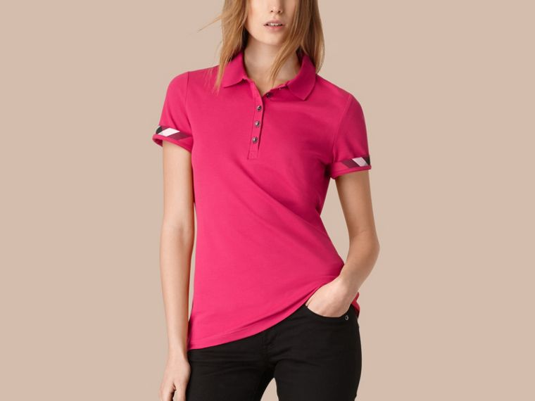 Check Trim Stretch Cotton Piqué Polo Shirt Bright Hibiscus - cell image 1