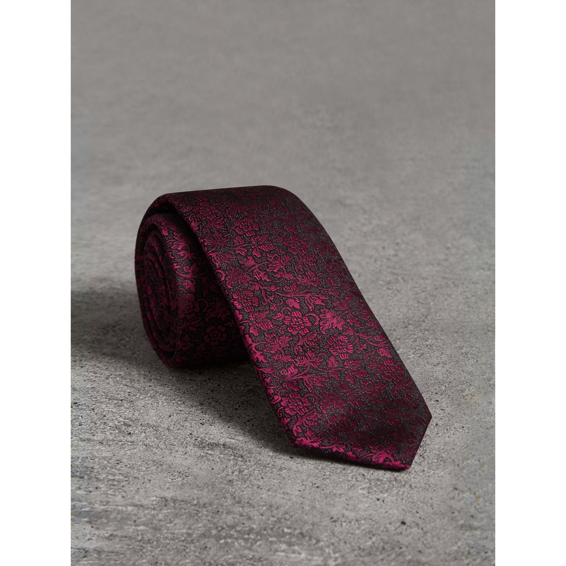 Slim Cut Floral Jacquard Silk Tie in Bright Fuschia - Men | Burberry - gallery image 0