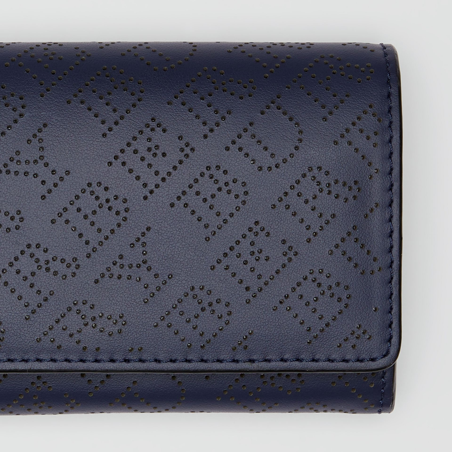 Perforated Logo Leather Continental Wallet in Navy - Women | Burberry - gallery image 1