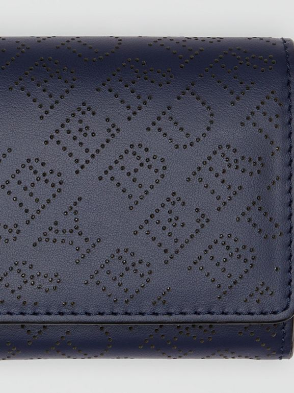 Perforated Logo Leather Continental Wallet in Navy - Women | Burberry - cell image 1