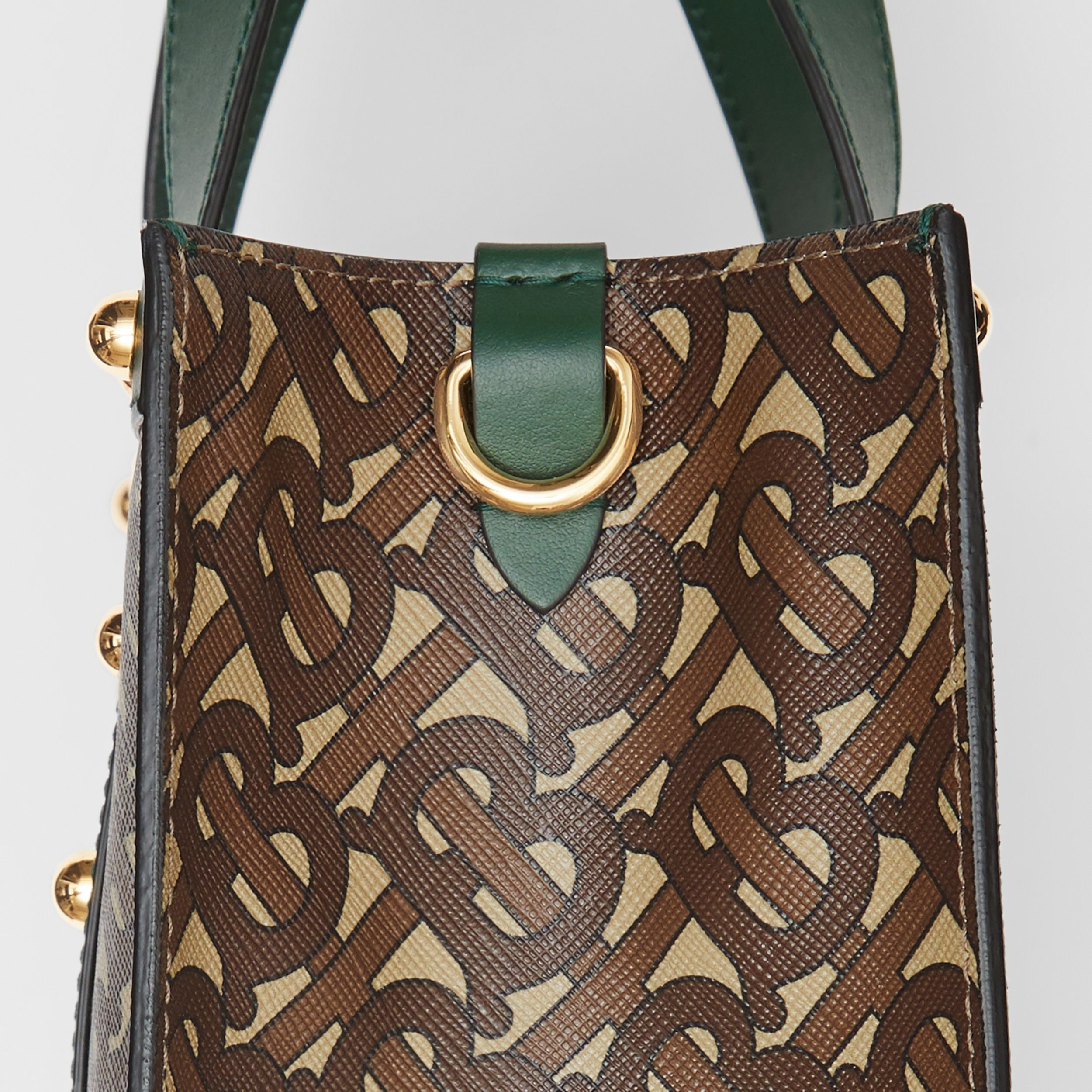 Small Monogram Print E-canvas Portrait Tote Bag in Dark Pine Green - Women | Burberry - 2