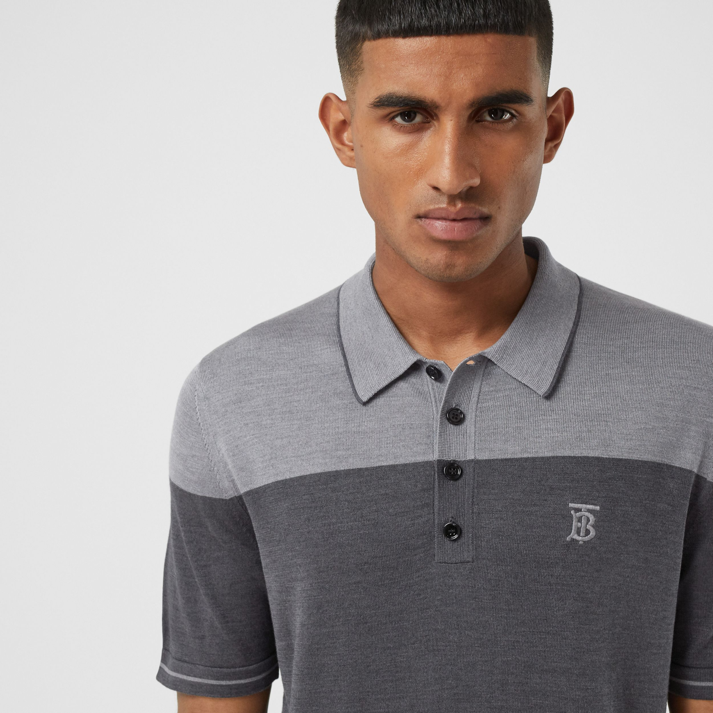 Monogram Motif Two-tone Silk Cashmere Polo Shirt in Charcoal - Men | Burberry - 2