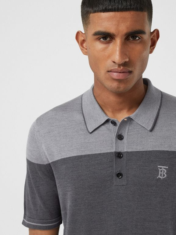 Monogram Motif Two-tone Silk Cashmere Polo Shirt in Charcoal - Men | Burberry - cell image 1