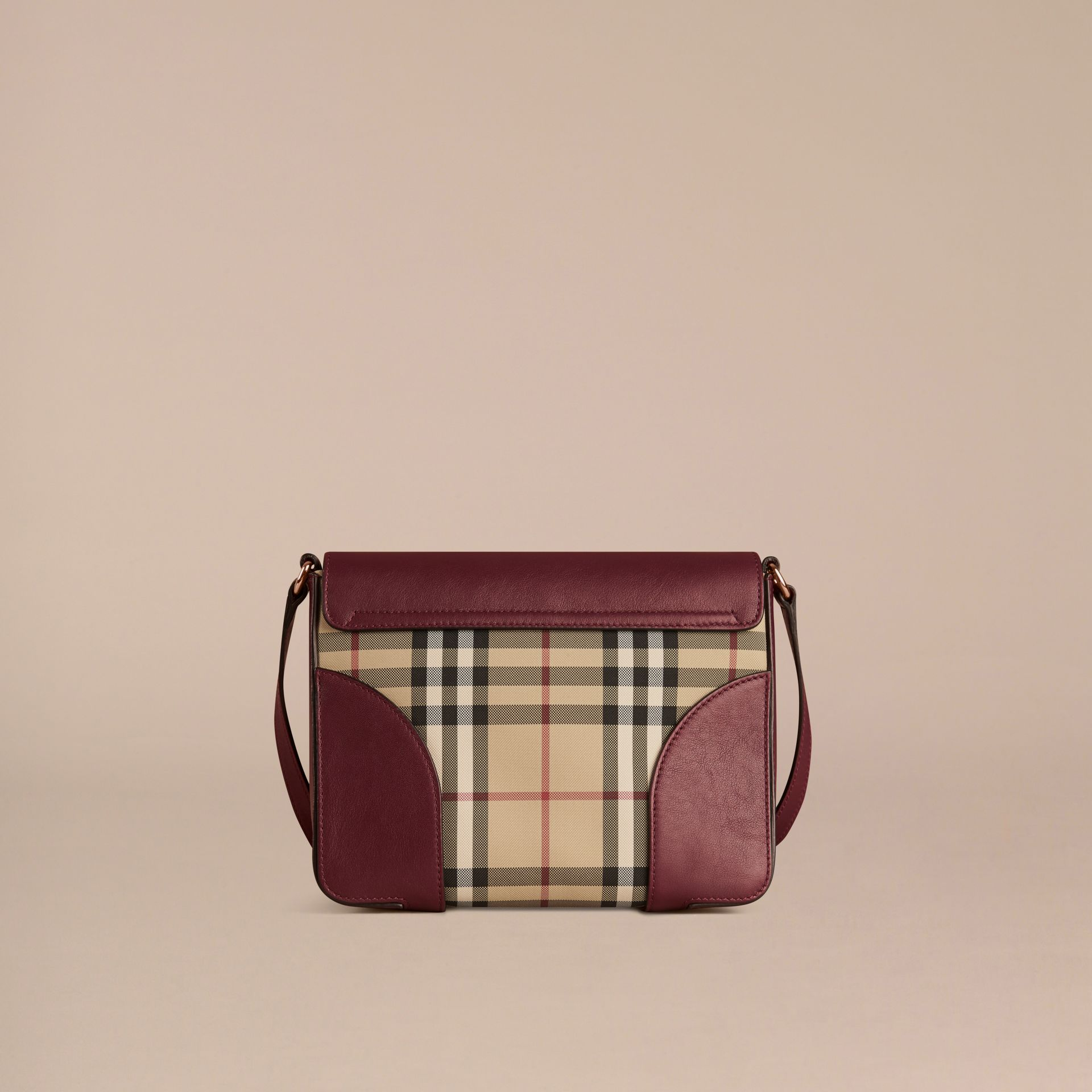 Honey/deep claret Small Horseferry Check and Leather Crossbody Bag Honey/deep Claret - gallery image 4