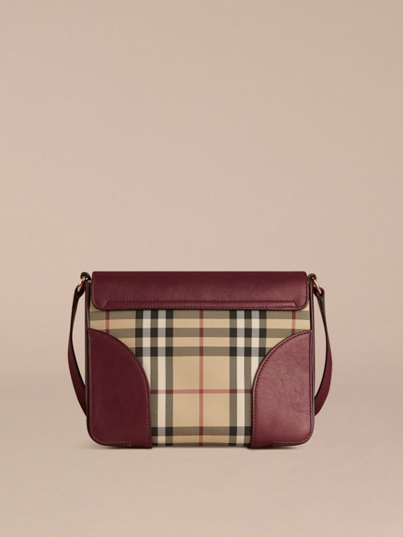 Honey/deep claret Small Horseferry Check and Leather Crossbody Bag Honey/deep Claret - cell image 3
