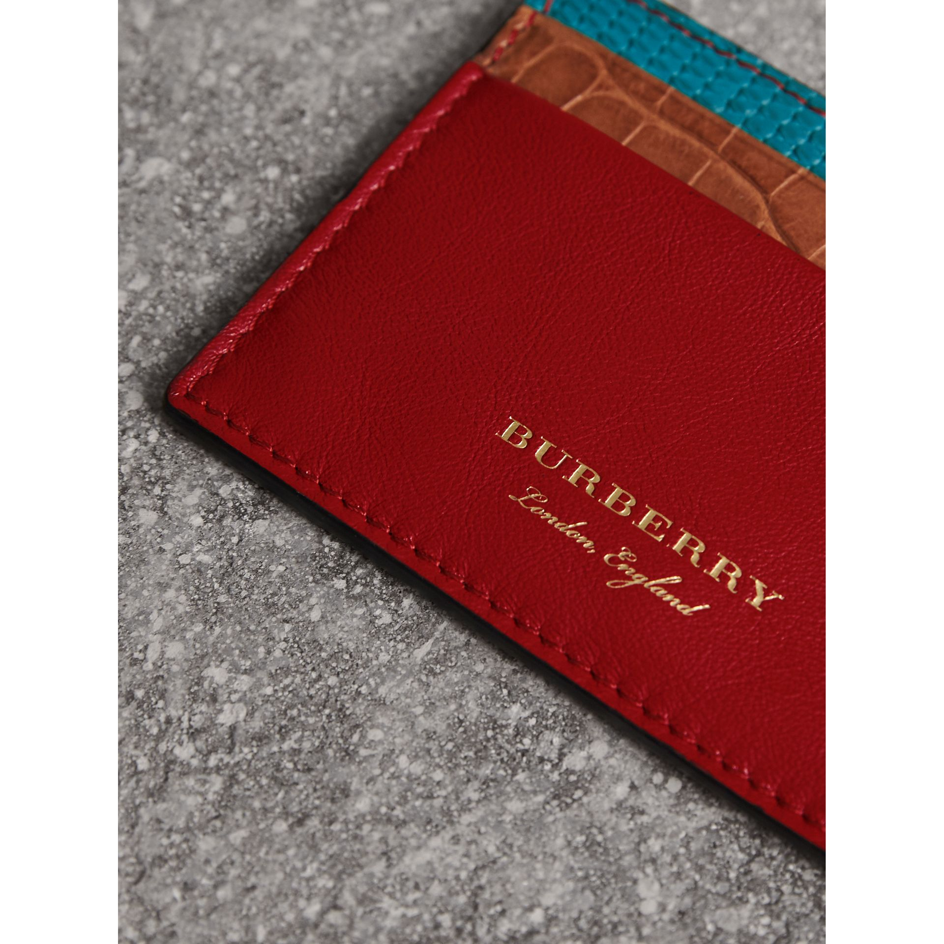 Leather, Lizard and Alligator Card Case in Deep Red - Men | Burberry - gallery image 1
