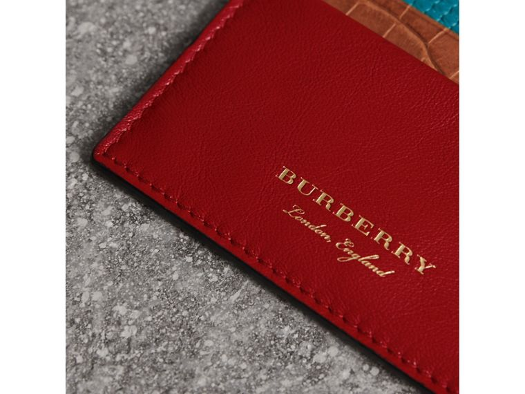 Leather, Lizard and Alligator Card Case in Deep Red - Men | Burberry Canada - cell image 1
