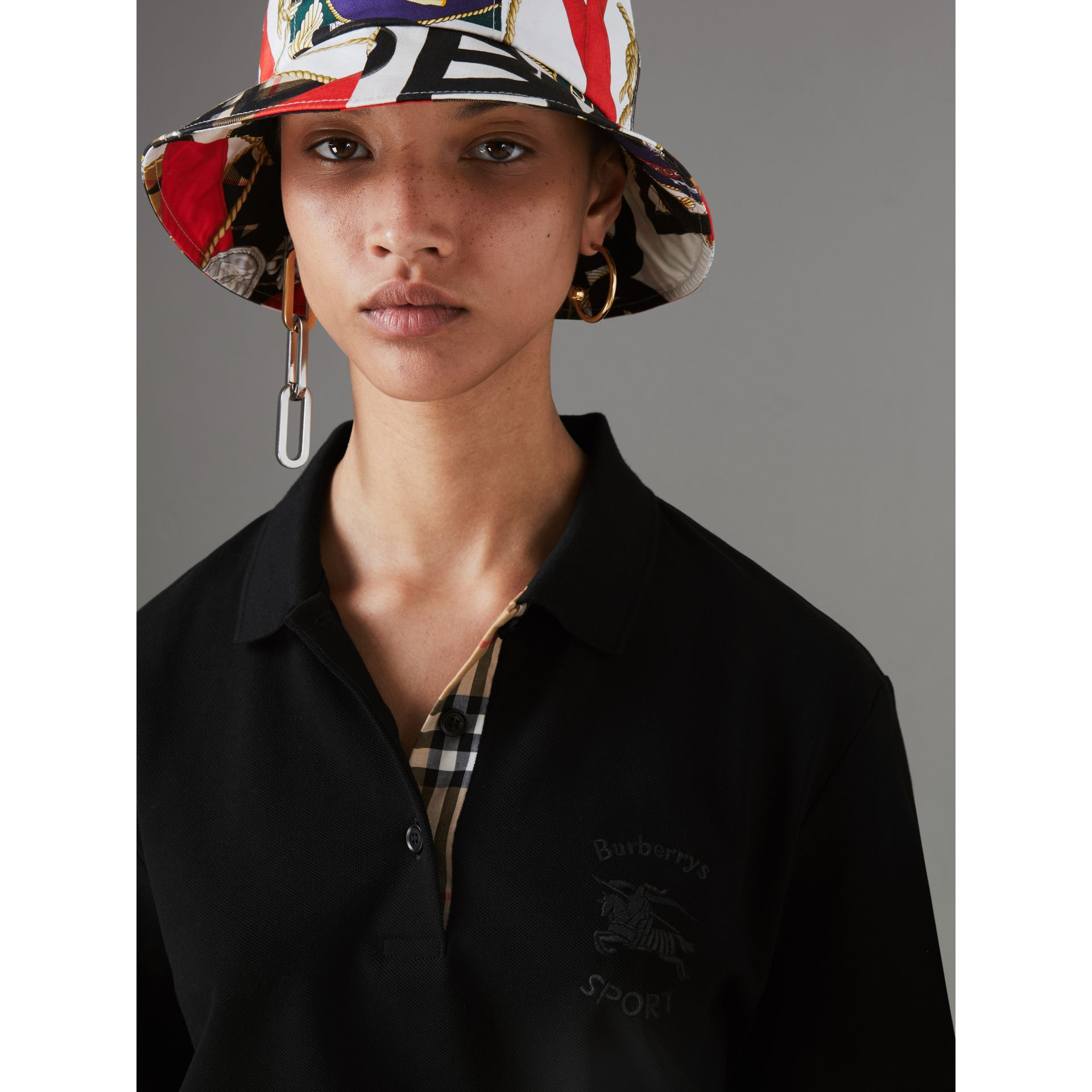 Check Placket Cotton Piqué Polo Shirt in Black - Women | Burberry Singapore - gallery image 1