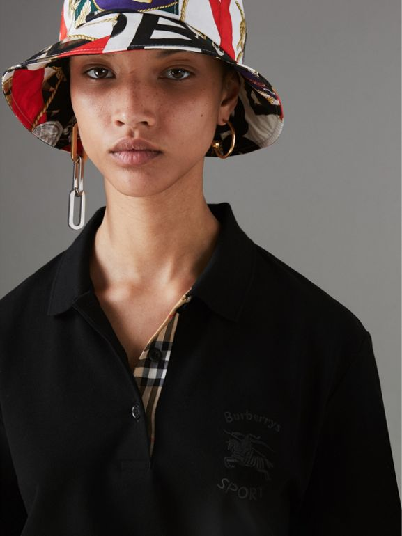 Check Placket Cotton Piqué Polo Shirt in Black - Women | Burberry - cell image 1