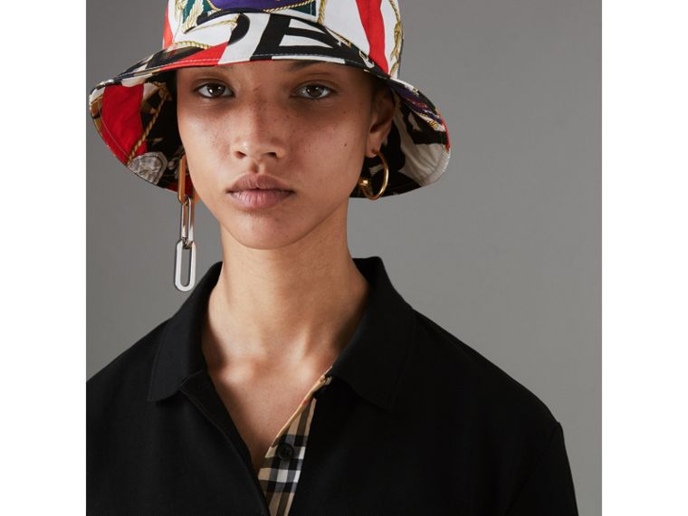 Check Placket Cotton Piqué Polo Shirt in Black - Women | Burberry Singapore - cell image 1