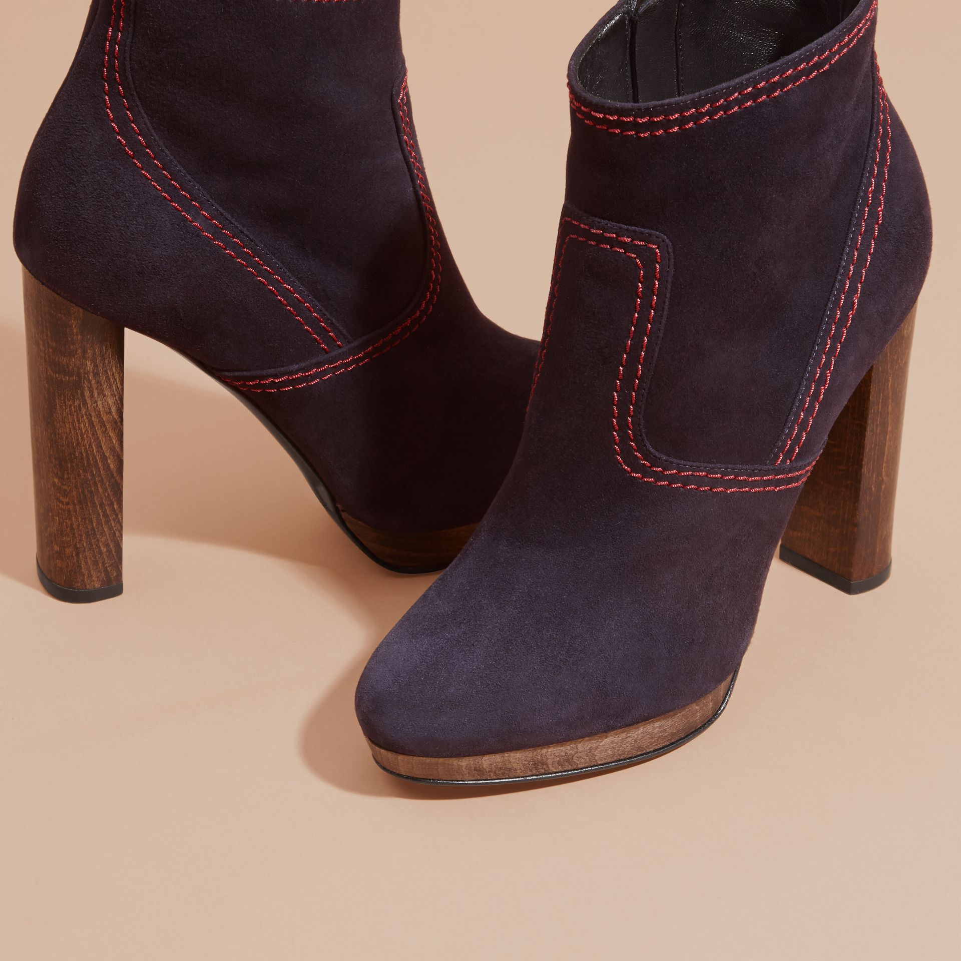 Suede Ankle Boots in Navy | Burberry United States - gallery image 4